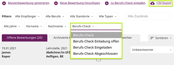CSV Export & Berufs-Check-1